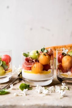 Sweet cantaloupe, honeydew, and watermelon make up this untraditional caprese salad. Tossed with a basil infused lemon vinaigrette and finished off with fresh burrata cheese, this melon caprese salad is the perfect light, Holiday Appetizers, Yummy Appetizers, Appetizer Recipes, Appetizer Ideas, Vegetarian Appetizers, Cheese Appetizers, Caprese Salat, Ensalada Caprese, Cooking Recipes
