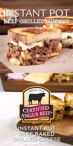 This recipe takes the classic and beloved grilled cheese sandwich, and elevates it with big, beefy flavor. Tender, juicy brisket is seared, then cooked in an instant pot with chipotle peppers, red onion and garlic. The meaty mixture is then added to toasted sourdough bread and topped with cheese. Perfection!  #certifiedangusbeef #bestangusbeef #beefrecipe #sandwich #sandwichrecipe #grilledcheese #instantpot #baked