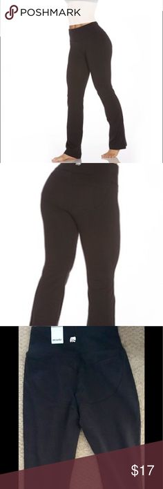 "Marika Black Booty Booster Bottoms 27"" inseam Contoured seaming enhances buttocks Semi-fitted straight leg Ideal for yoga or fitness classes Coolmax Gusset to keep you cool and dry.                         Materials: 87% cotton, 13% spandex.                                   Inseam: 27"" Marika Pants Track Pants & Joggers"