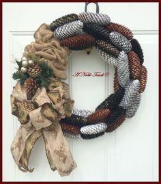 Pine Cone, Burlap and Pinecone Wreath by A Noble Touch