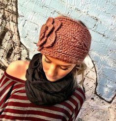 EXTRA WIDE Flower Knitted Ear Warmer Headband