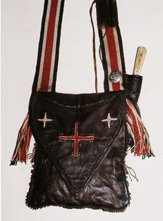 Braintan Deer and Quill Work Pouch Distressed Leather, Canvas Leather, Leather Purses, Leather Bag, Shooting Bags, Powder Horn, Longhunter, Fur Trade, Mountain Man
