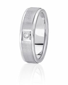 Traditional Bezel Set Solitaire Diamond Wedding Band With Satin Finished Center & High Polished Edges