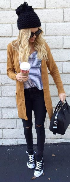 #winter #fashion /  Black Beanie / Camel Cardigan / Striped Tee / Skinny Jeans