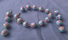Blue flower polymer clay ball bracelet earring set by doubledzbeadz. Explore more products on http://doubledzbeadz.etsy.com