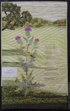 """""""A Pasture Poem"""" by Aileyn Renli Ecob. Featured Artist, 2015 DVQ show.  The poem is by Richard Wilbur.  Photo by Quilt Inspiration."""