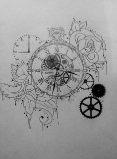Tattoo Illustration, Pocket Watch, Time, Gears, Clock, Rose, Drawing, Pencil, Leaves  Repin  Follow my pins for a FOLLOWBACK!