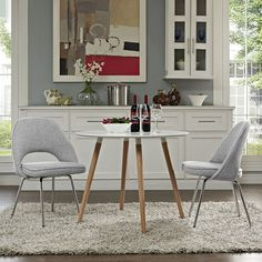 Cordelia Dining Chairs Set of 2, Light Gray - Participate in renewed growth and actualization with the Cordelia Side Chair. Sit comfortably as an aspirational back and up-surging arms compliment a dual-tone tweed fabric cushion. Sleek chrome legs solidify the progress as unlocked potentials are established with ease. Set Includes: Two - Cordelia Side Chairs. Material: Chromed, Cotton. Weight: 34. Assembly Required