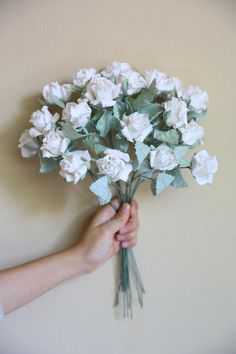 Paper flowers wholesale flowers rose small paper crafts white with pale leaves small rose flowers wholesalepaper mightylinksfo