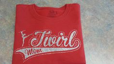 baton twirling / twirl mom majorette glitter heat press t-shirt with rhinestones