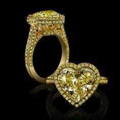 Robert Procop's heart-shaped yellow diamond engagement ring.
