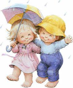 Jongetje en Meisje onder Paraplu