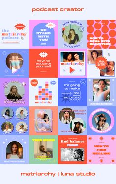Create very engaging content for your social media's podcast with Matriarchy! Web Design, Layout Design, Graphic Design Posters, Graphic Design Inspiration, Photoshop, Lightroom, Instagram Design, Social Media Design, Identity Design