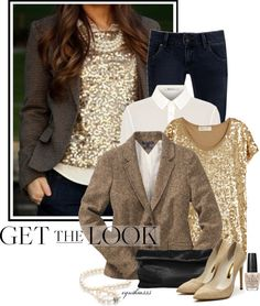 """Get the Look ~Sequin Top~"" by cynthia335 ❤ liked on Polyvore"