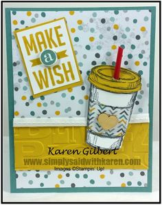 Celebrate a Birthday with the Perfect Blend stamp set.  This card would be suitable for everyone and with a different sentiment, other types of cards could be created. http://simplysaidwithkaren.com/celebrate-a-birthday-blended-beverage/