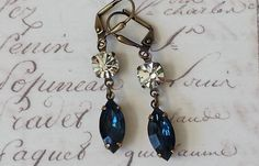 Dark Sapphire and Crystal Earrings made with by ArtistInJewelry