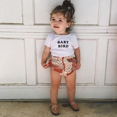 Baby bird in our vintage patchwork bloomers!  Summer uniform on repeat! Get 3 pair of our basic bloomers for $39.99 with coupon code: BLOOMERSBUNDLE #ewmccall #handmade #shopsmall #bloomers #vintagefloral #kidsfashion