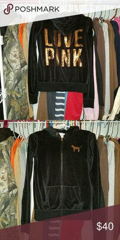Vs velvet black jacket gold sequins Perfect condition size xs but fits bigger has a velvet kind of material make offer is not happy with price I'm also up for trades on items Victoria's Secret Jackets & Coats
