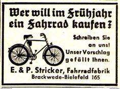 Original-Werbung/ Anzeige 1937 - STRICKER FAHRRÄDER - BRACKWEDE - BIELEFELD - Ca. 45 X 30 Mm - Werbung