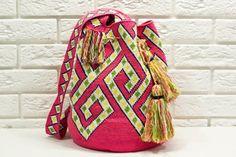 Festival hippy bag Crocheted ethnic boho bag Pink mochila wayuu shoulder bag Women Messenger Bags Gift for her Boho Crochet, Crochet Gifts, Hand Crochet, Crochet Bags, The Used, Mochila Hippie, Crochet Clutch Pattern, Festival Hippie, Hippie Bags