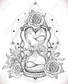 antique hourglass with roses illustration isolated on white. Decorative antique hourglass with roses illustration isolated on white. Decorative antique hourglass with roses illustration isolated on white. Tattoo Sketches, Tattoo Drawings, Body Art Tattoos, Sleeve Tattoos, Rose Illustration, Little Tattoos, Small Tattoos, Coloring Books, Coloring Pages