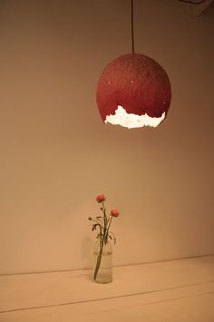 NEW Hanging lamp paper mache raspberry by RoughHandsTheHague