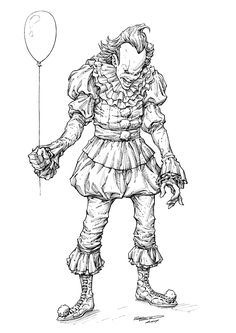 Look kids, it's Pennywise! Had a merry old time inking up this lovable Clown. His costume turned out to be just the challenge I thought it would be, requiring a careful balance of rendering to achieve the tones and materials I was looking for. Getting all those cross-hatches placed so that the values read correctly was absolute key. It can make the difference between an unreadable mess of lines and an illustration that pops right off the page.