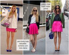 Combinando saia rosa!