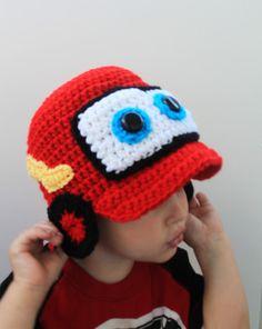 Crochet red racing car hat.Crochet red car hat. by KrazyHats1
