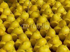 Zitronen in gelben Netzen auf einem Wochenmarkt in Istanbul Erenköy in der Türkei