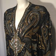 Vintage Plus Size 1X XL Black Gold Silver Beaded Long Sleeve Jacket Art Deco 90s Style Heavy Glass Beads by CarolinaThriftChick on Etsy