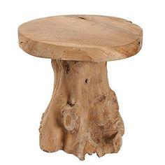 Baumstamm Hocker ROOT Teak Hocker massives Wurzelholz Sitzhocker Beistelltisch natur Tisch Holztisch Holzhocker Fußbank
