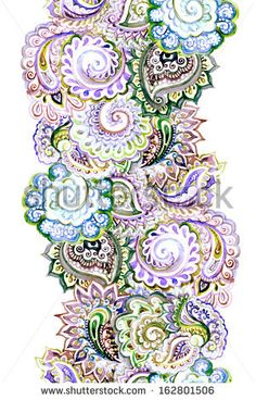 Seamless watercolor painted ribbon with embroidery ornament