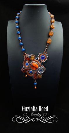 SALE Amber necklace por GuzialiaReedJewelry en Etsy