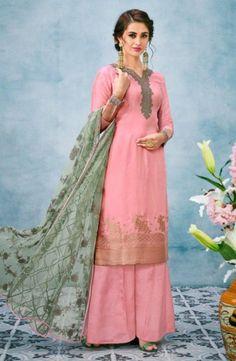 ca2703e790 Pink Banarasi Jacquard Silk Festival Wear Embroidery Work Palazzo Suit - Kesari  Exports Product Code :