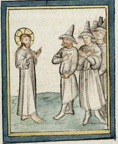 14th century hats for men, manuscript: BIF Ms. 09 Pèlerinage de Jésus-Christ, Folio 040v, 1400, France