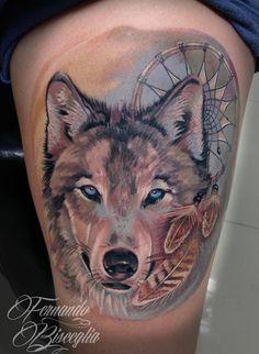 Wolf Dreamcatcher Tattoo, Tribal Wolf Tattoo, Wolf Tattoos For Women, Tattoo Designs For Women, Husky Tattoo, Wolf Colors, Dragon Tattoo Designs, Family Tattoos, Beautiful Tattoos