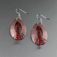 Chased Copper Tear Drop Earrings with Carnelian . Perfection in design and color!   http://www.ilovecopperjewelry.com/chased-copper-tear-drop-earrings-with-carnelian.html  $65.00