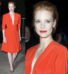 Jessica Chastain at Paris Fashion Week, Autumn/Winter 2013 (Yves Saint Laurent or YSL show) in Paris on March 4, 2013
