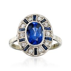 Ross-Simons - C. 1950. Vintage 2.20 Carat Sapphire and .30 ct. t.w. Diamond Ring in 18kt White Gold. Size 7 - #772380