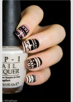 Tribal nail art is just never going out of style! Aztec Nail Art, Funky Nail Art, Tribal Nails, Funky Nails, Glitter Nail Art, Gel Nail Art, Nail Manicure, Manicure Ideas, Manicures