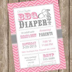 Pink And White Chevron Baby Shower Invitations