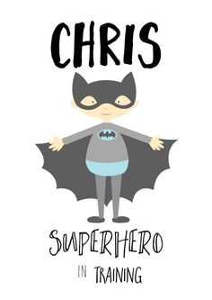 Batman Superhero Personalised Superhero in Training Name Print. Baby, Boys Batman Nursery & Bedroom Decor Wall Art Prints. Birth Prints. Name Prints. Superhero Wall Art Decor.