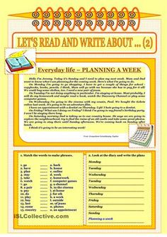 Let's read and write about ... (2) - Everyday Life-Planning a week