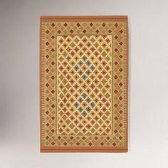 Small Diamond Border Kilim Wool Rug