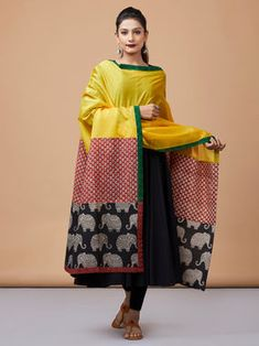 Yellow Red Black Kalamkari and Hand Block Printed Cotton Silk Dupatta Benarasi Dupatta, Silk Dupatta, Cotton Silk, Printed Cotton, Hand Embroidery Dress, Churidar Designs, Summer Special, Indian Designer Outfits, Patchwork Dress