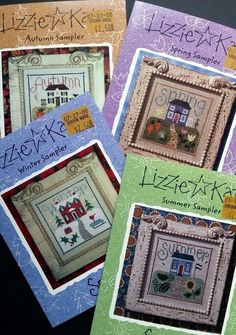 Lizzie Kate Snippet Cross Stitch Patterns Samplers Autumn Winter Spring Summer #LizzieKate #Snippet