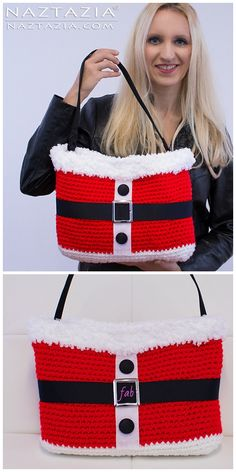 Knitting Patterns Christmas Christmas Crochet Santa Bag Free Crochet Pattern and video tutorial Crochet Handbags, Crochet Purses, Crochet Bags, Crochet Santa, Free Crochet, Crochet Granny, Crochet Crafts, Crochet Projects, Crochet Ideas