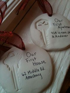 Better Than Salt Dough (Homemade Clay for Ornaments or Handprints) Clay ornaments to remember the first apartment and house you and your loved one shared together! Holiday Crafts, Holiday Fun, Christmas Crafts, Handmade Christmas, Couple Christmas Gifts, Homemade Christmas Ornaments, Salt Dough Christmas Decorations, Our First Christmas Ornament, First Christmas Married
