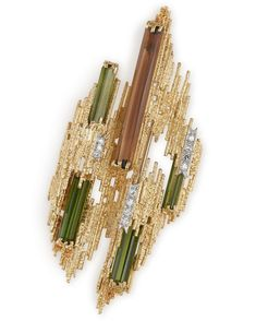 A yellow gold textured wire diamond and tourmaline brooch by Andrew Grima 1972